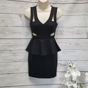 UO Sparkle and Fade Black Cut Out Peplum Dress